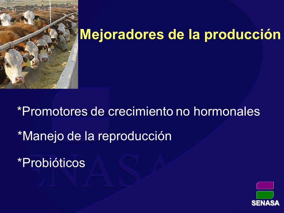 Mejoradores de la producción *Promotores de crecimiento no hormonales *Manejo de la reproducción *Probióticos SENASA