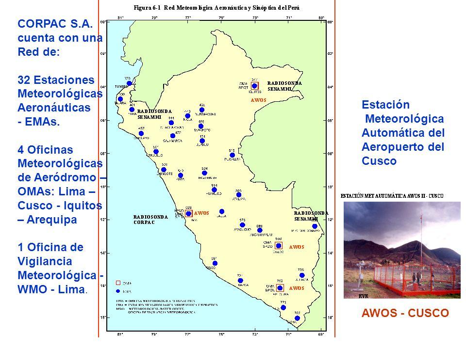 AWOS - CUSCO CORPAC S.A. cuenta con una Red de: 32 Estaciones Meteorológicas Aeronáuticas - EMAs. 4 Oficinas Meteorológicas de Aeródromo – OMAs: Lima