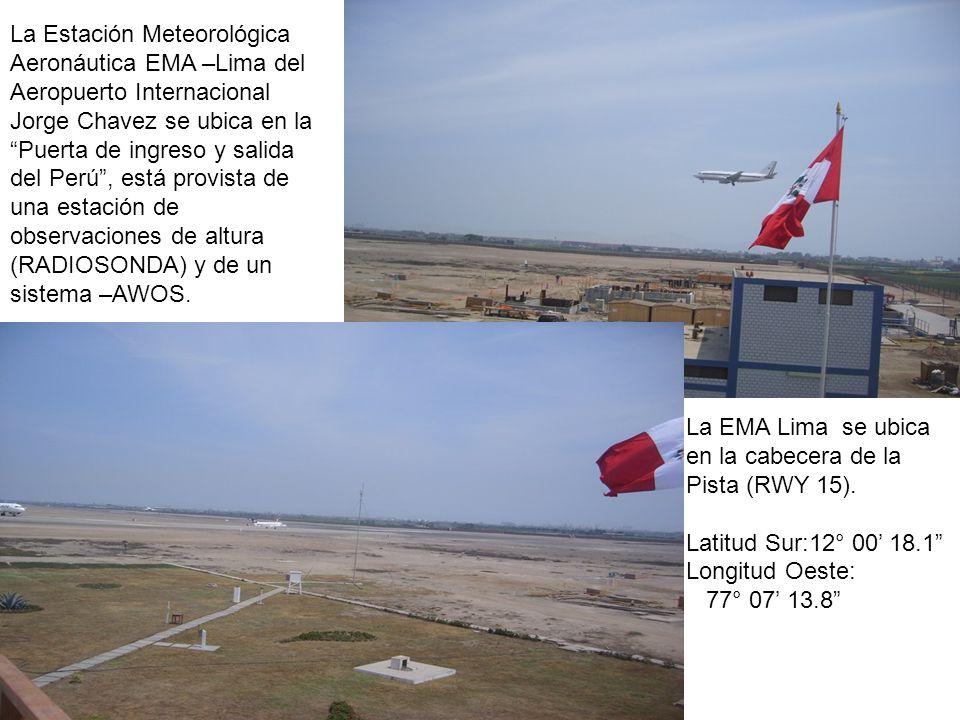 La Estación Meteorológica Aeronáutica EMA –Lima del Aeropuerto Internacional Jorge Chavez se ubica en la Puerta de ingreso y salida del Perú, está pro