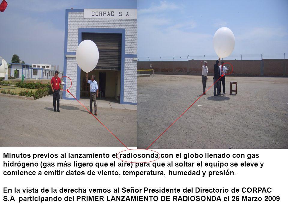 Minutos previos al lanzamiento el radiosonda con el globo llenado con gas hidrógeno (gas más ligero que el aire) para que al soltar el equipo se eleve