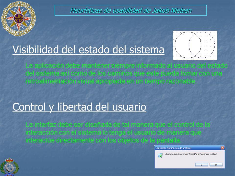 Heurísticas de usabilidad de Jakob Nielsen Visibilidad del estado del sistema Control y libertad del usuario La aplicación debe mantener siempre infor