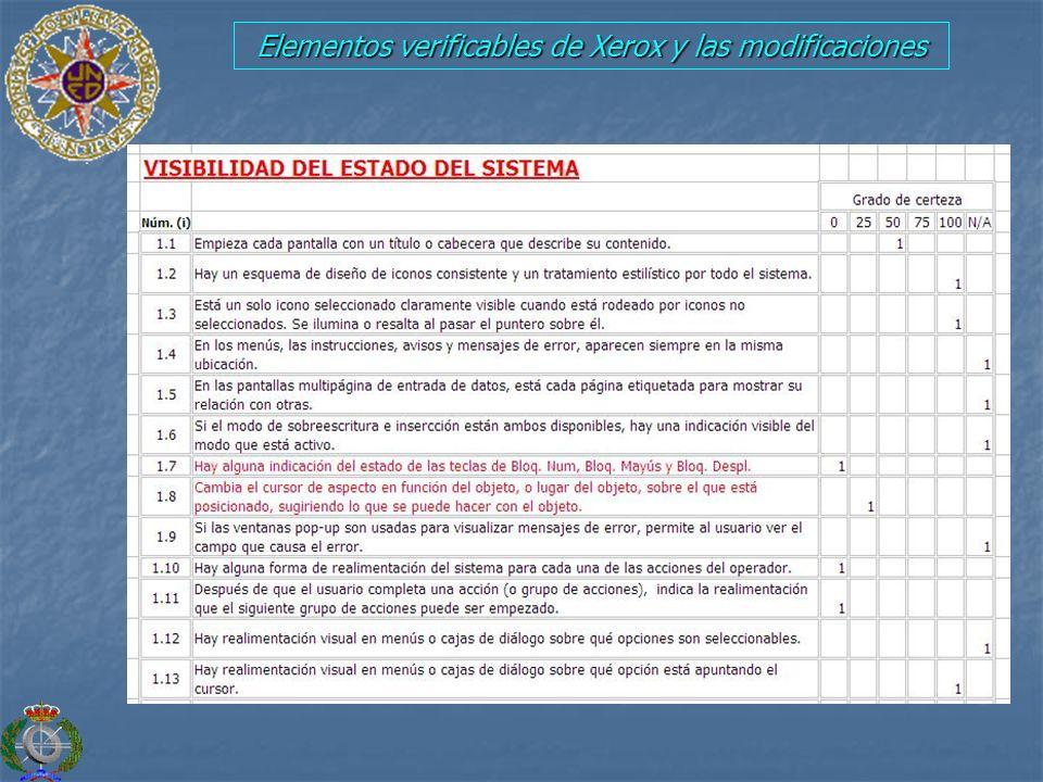 Elementos verificables de Xerox y las modificaciones