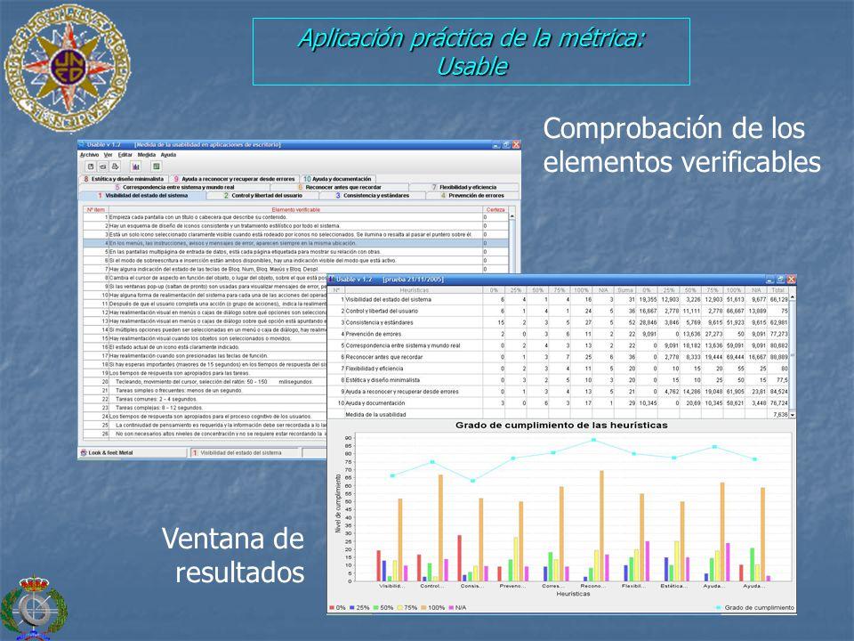 Aplicación práctica de la métrica: Usable Comprobación de los elementos verificables Ventana de resultados