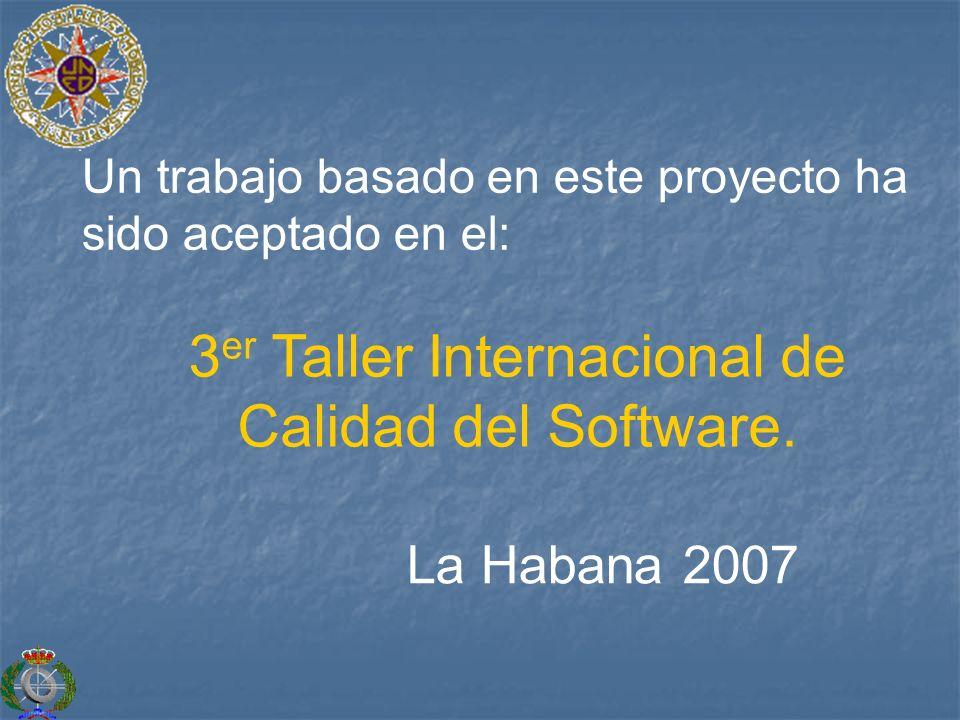 Un trabajo basado en este proyecto ha sido aceptado en el: 3 er Taller Internacional de Calidad del Software. La Habana 2007