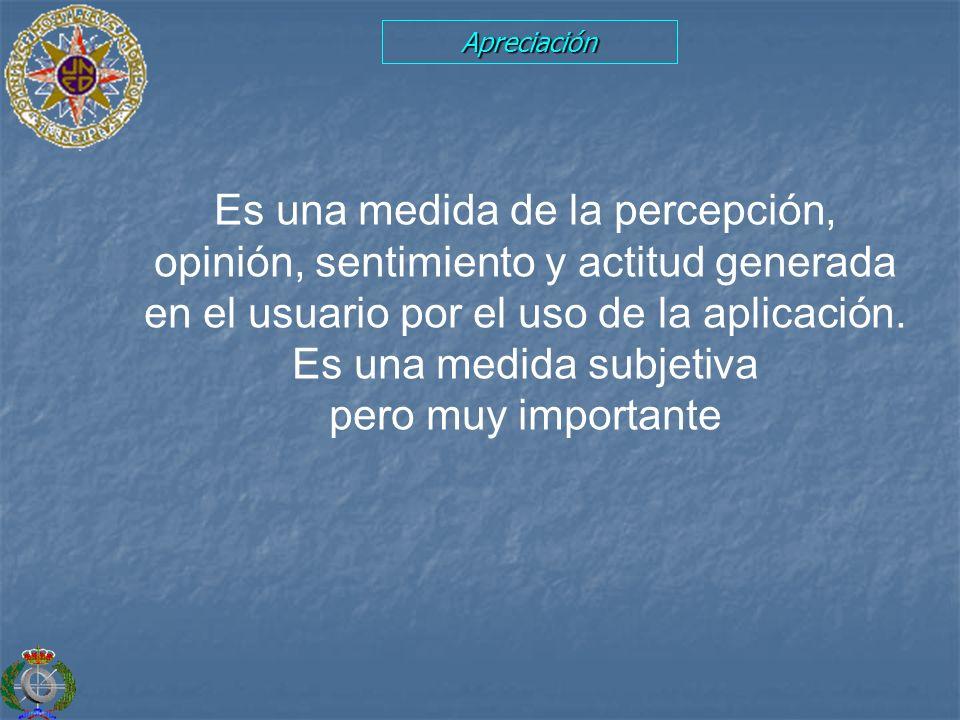 Apreciación Es una medida de la percepción, opinión, sentimiento y actitud generada en el usuario por el uso de la aplicación. Es una medida subjetiva