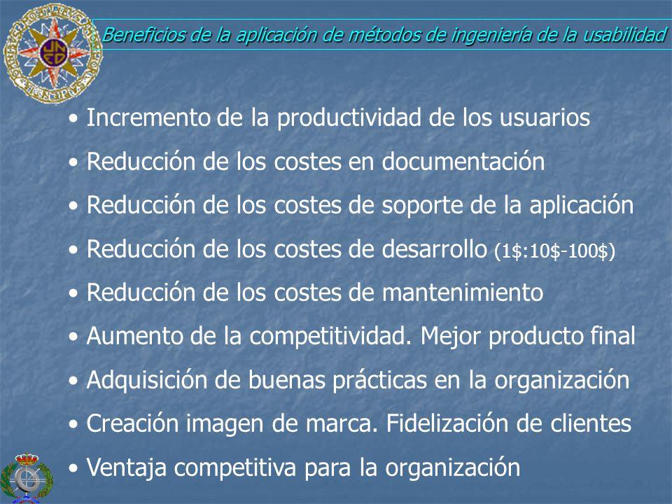 Beneficios de la aplicación de métodos de ingeniería de la usabilidad Incremento de la productividad de los usuarios Reducción de los costes en docume