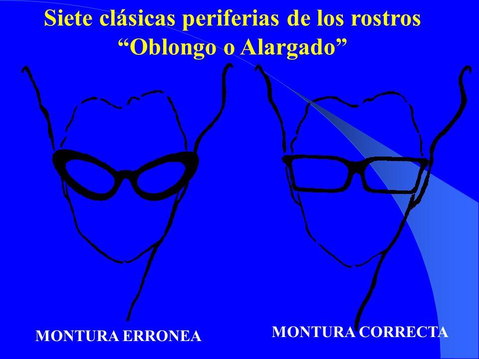 Siete clásicas periferias de los rostros Oblongo o Alargado MONTURA ERRONEA MONTURA CORRECTA