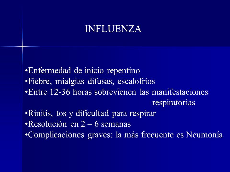 Enfermedad de inicio repentino Fiebre, mialgias difusas, escalofríos Entre 12-36 horas sobrevienen las manifestaciones respiratorias Rinitis, tos y di