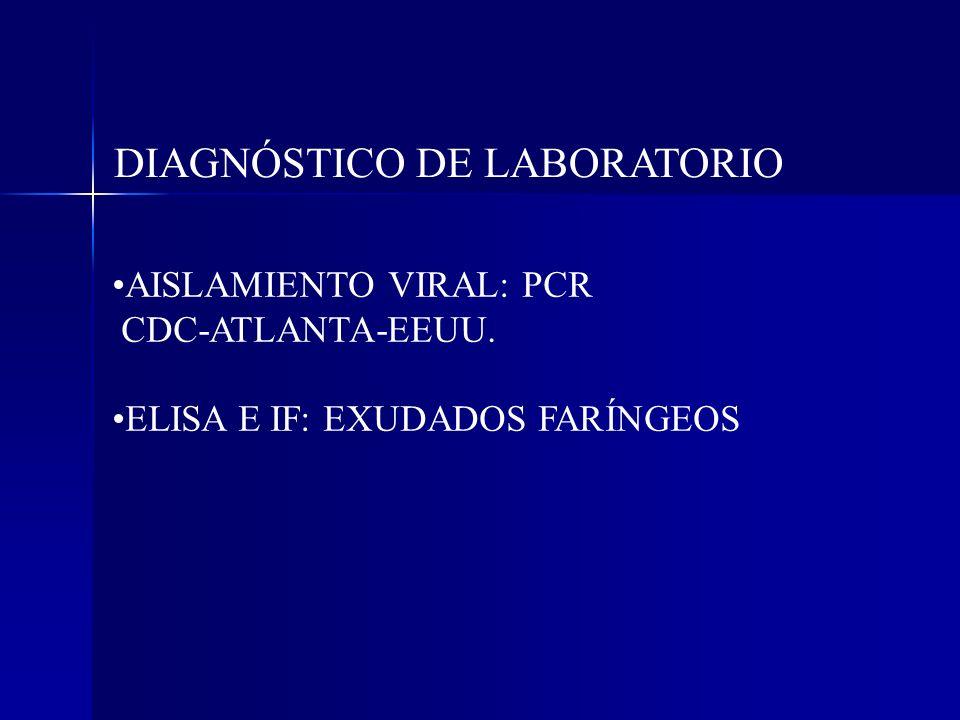 DIAGNÓSTICO DE LABORATORIO AISLAMIENTO VIRAL: PCR CDC-ATLANTA-EEUU. ELISA E IF: EXUDADOS FARÍNGEOS