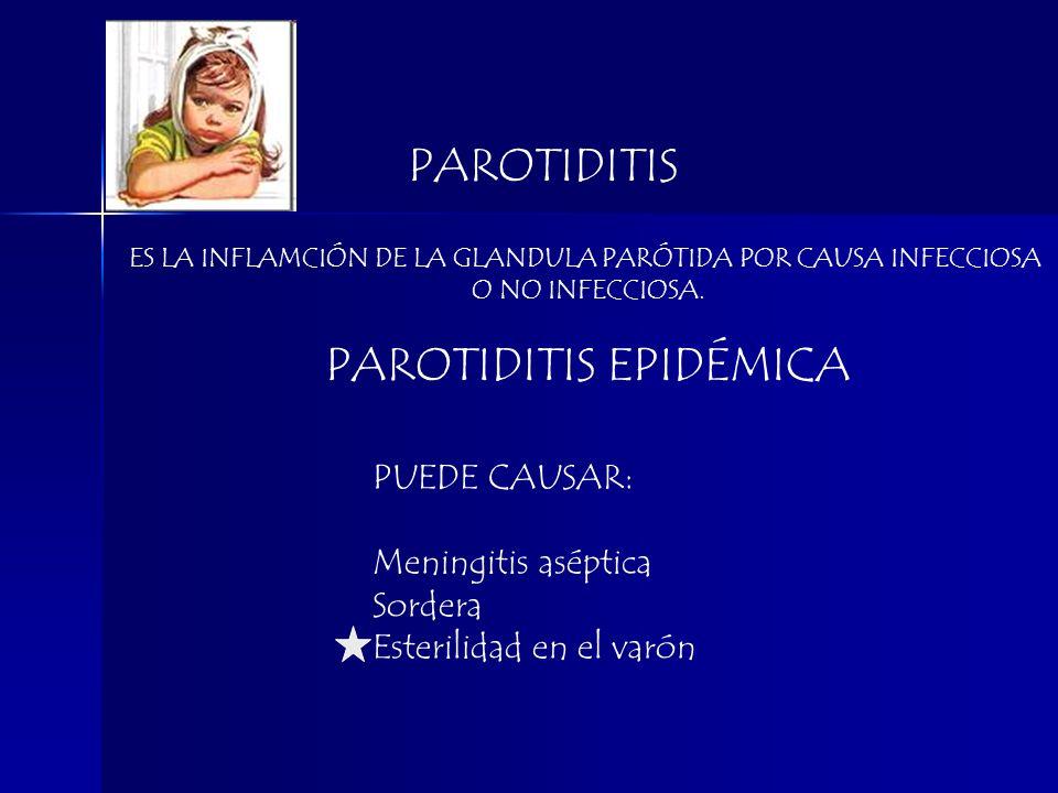 PAROTIDITIS PUEDE CAUSAR: Meningitis aséptica Sordera Esterilidad en el varón ES LA INFLAMCIÓN DE LA GLANDULA PARÓTIDA POR CAUSA INFECCIOSA O NO INFEC