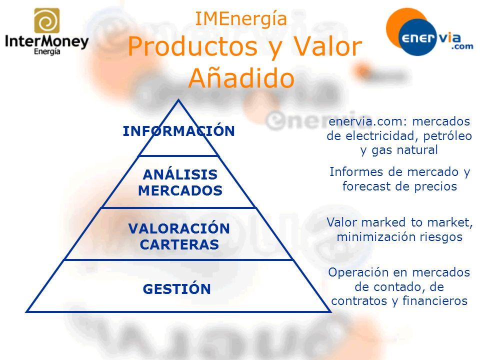 IMEnergía Productos y Valor Añadido INFORMACIÓN enervia.com: mercados de electricidad, petróleo y gas natural GESTIÓN Operación en mercados de contado