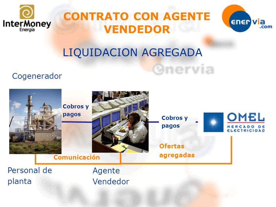 CONTRATO CON AGENTE VENDEDOR LIQUIDACION AGREGADA Personal de planta Agente Vendedor Cobros y pagos Cogenerador Comunicación Ofertas agregadas Cobros
