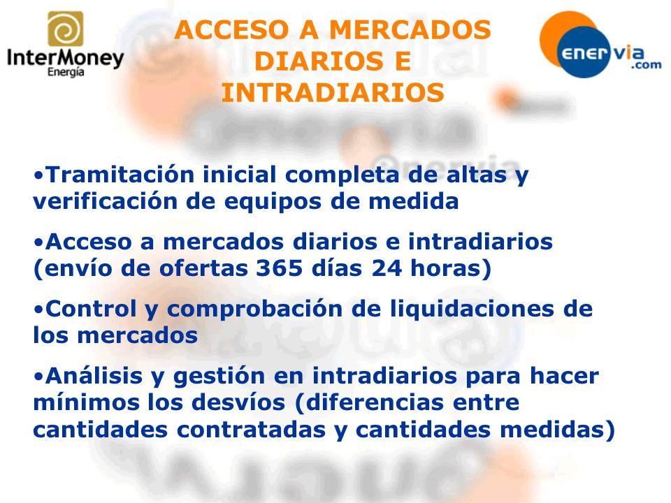 ACCESO A MERCADOS DIARIOS E INTRADIARIOS Tramitación inicial completa de altas y verificación de equipos de medida Acceso a mercados diarios e intradi