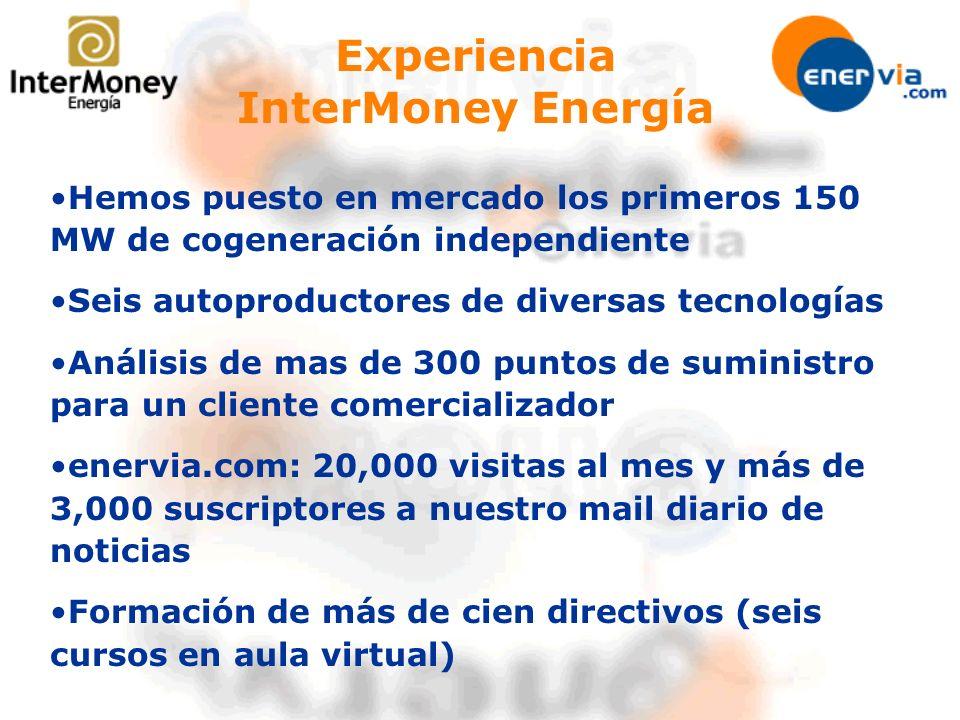 Experiencia InterMoney Energía Hemos puesto en mercado los primeros 150 MW de cogeneración independiente Seis autoproductores de diversas tecnologías