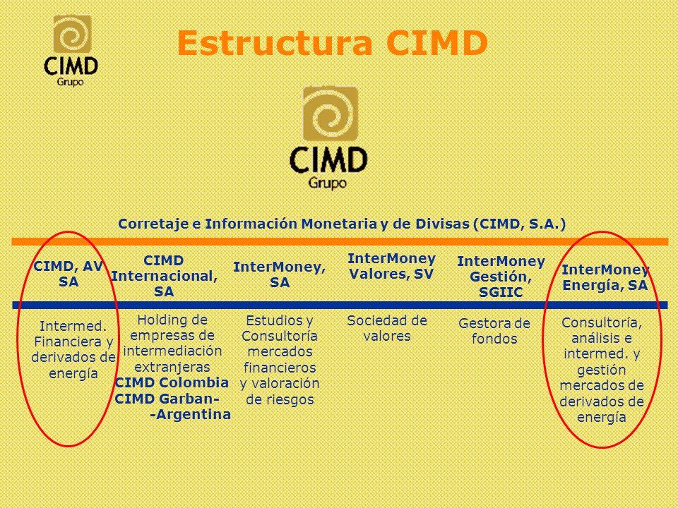 Intermediación en mercados de derivados Único intermediario residente en España para Swaps de electricidad Coberturas para gas natural Plataforma de negociación on line (voz + pantalla) Jurídica y físicamente separado de InterMoney Energía (seguimos modelo de CNMV y Directivas Europeas de Servicios de Inversión) Servicios CIMD, A.V.