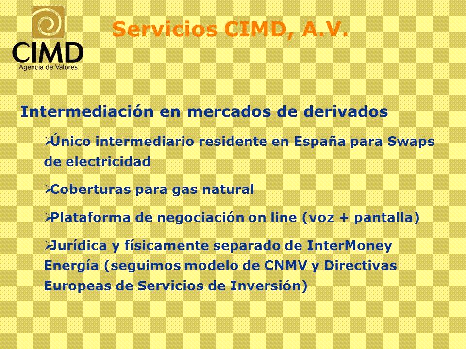 Intermediación en mercados de derivados Único intermediario residente en España para Swaps de electricidad Coberturas para gas natural Plataforma de n