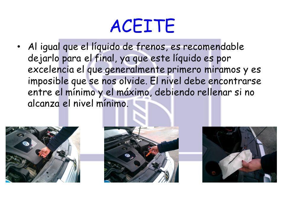 ACEITE Al igual que el líquido de frenos, es recomendable dejarlo para el final, ya que este líquido es por excelencia el que generalmente primero mir
