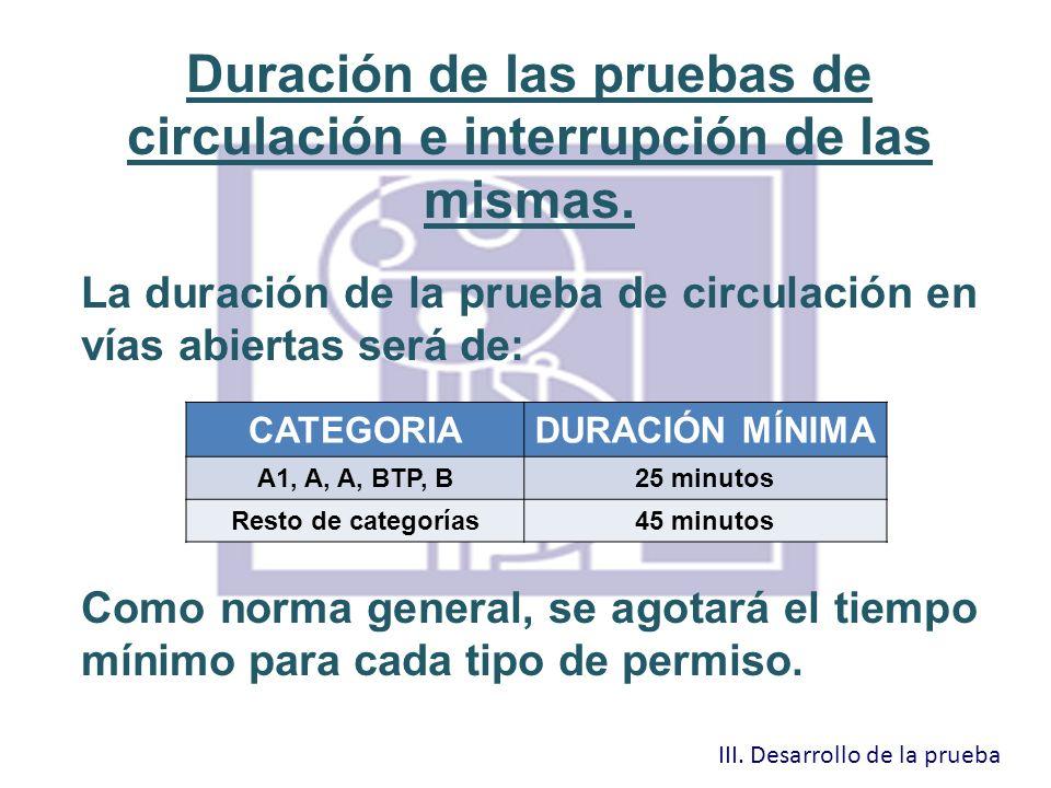 Duración de las pruebas de circulación e interrupción de las mismas. La duración de la prueba de circulación en vías abiertas será de: Como norma gene