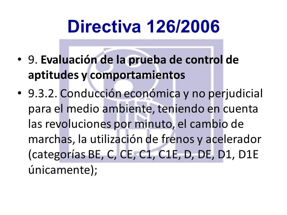 Directiva 126/2006 10.Duración del examen La duración del examen y la distancia que se haya de recorrer deberán ser suficientes para la evaluación de las aptitudes y comportamientos prevista en el apartado B del presente anexo.