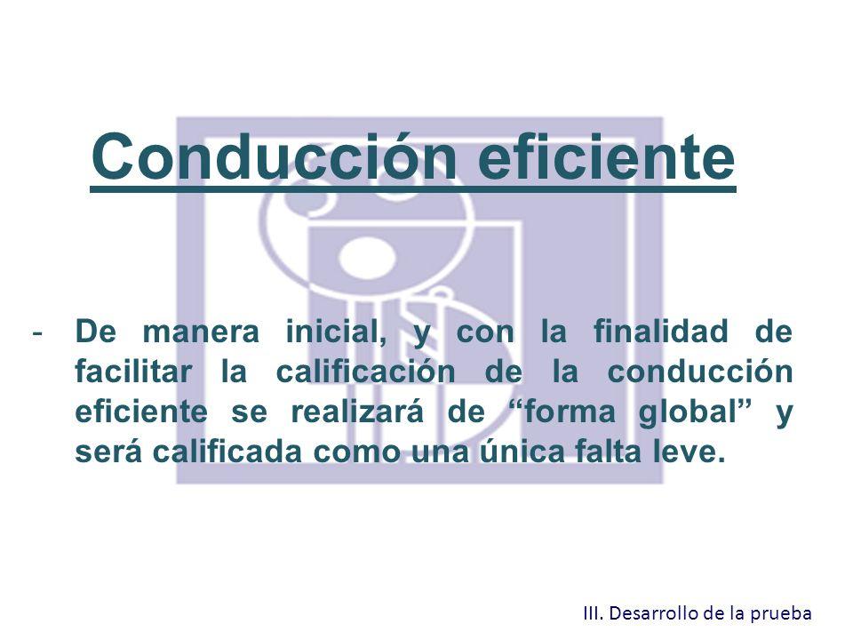 Conducción eficiente -De manera inicial, y con la finalidad de facilitar la calificación de la conducción eficiente se realizará de forma global y ser