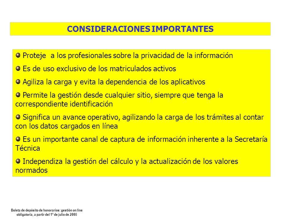 Boleta de depósito de honorarios: gestión on line obligatoria, a partir del 1º de julio de 2008 CORREO ENVIADO A LA MATRICULA