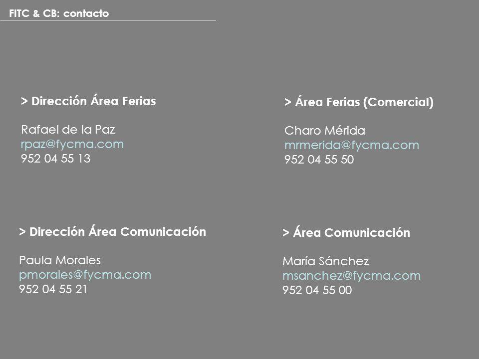 FITC & CB: contacto > Área Ferias (Comercial) Charo Mérida mrmerida@fycma.com 952 04 55 50 > Dirección Área Ferias Rafael de la Paz rpaz@fycma.com 952