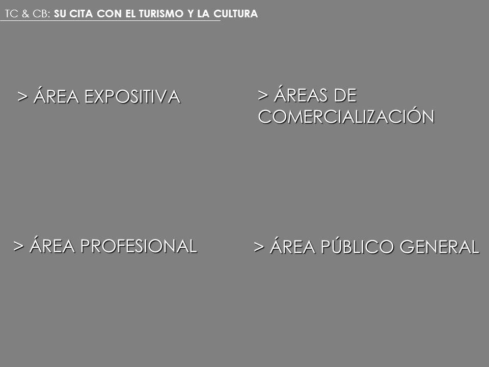 > ÁREA PÚBLICO GENERAL > ÁREA EXPOSITIVA > ÁREAS DE COMERCIALIZACIÓN > ÁREA PROFESIONAL TC & CB: SU CITA CON EL TURISMO Y LA CULTURA