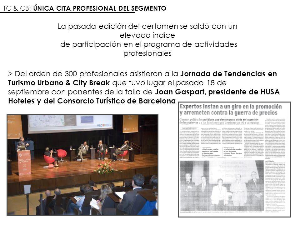 TC & CB: ÚNICA CITA PROFESIONAL DEL SEGMENTO > Del orden de 300 profesionales asistieron a la Jornada de Tendencias en Turismo Urbano & City Break que