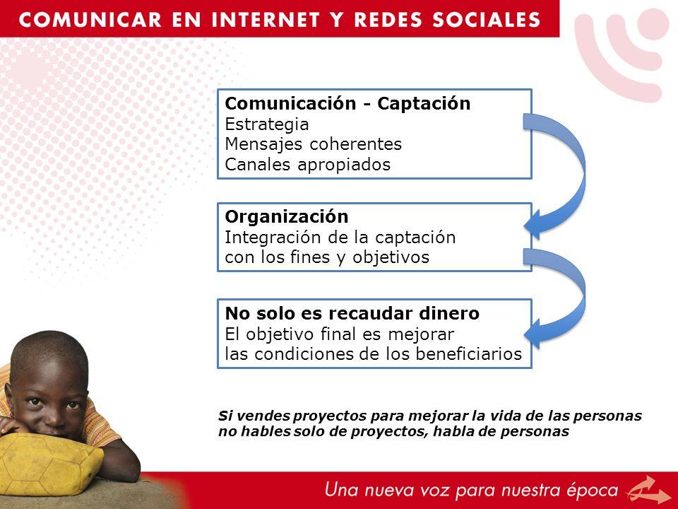 Comunicación - Captación Estrategia Mensajes coherentes Canales apropiados Organización Integración de la captación con los fines y objetivos No solo