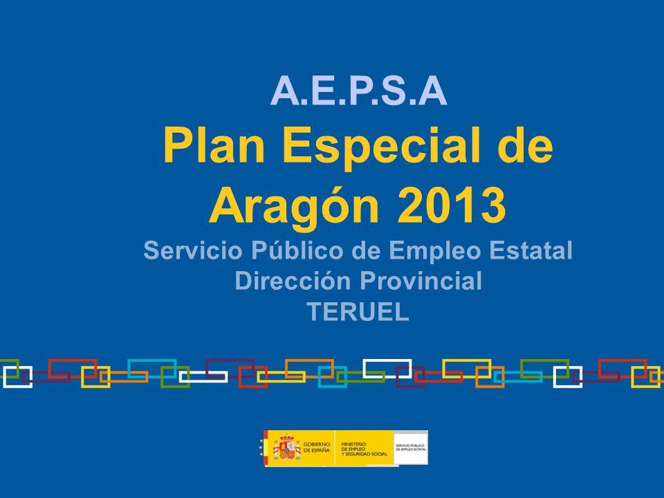 A.E.P.S.A Plan Especial de Aragón 2013 Servicio Público de Empleo Estatal Dirección Provincial TERUEL