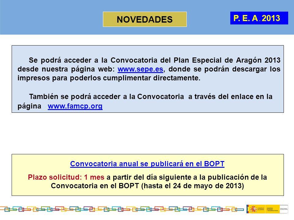 P. E. A. 2013 NOVEDADES Convocatoria anual se publicará en el BOPT Plazo solicitud: 1 mes a partir del día siguiente a la publicación de la Convocator