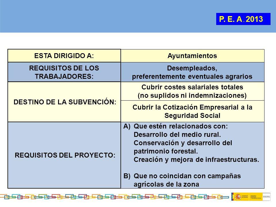 ESTA DIRIGIDO A: Ayuntamientos REQUISITOS DE LOS TRABAJADORES: Desempleados, preferentemente eventuales agrarios REQUISITOS DEL PROYECTO: A)Que estén
