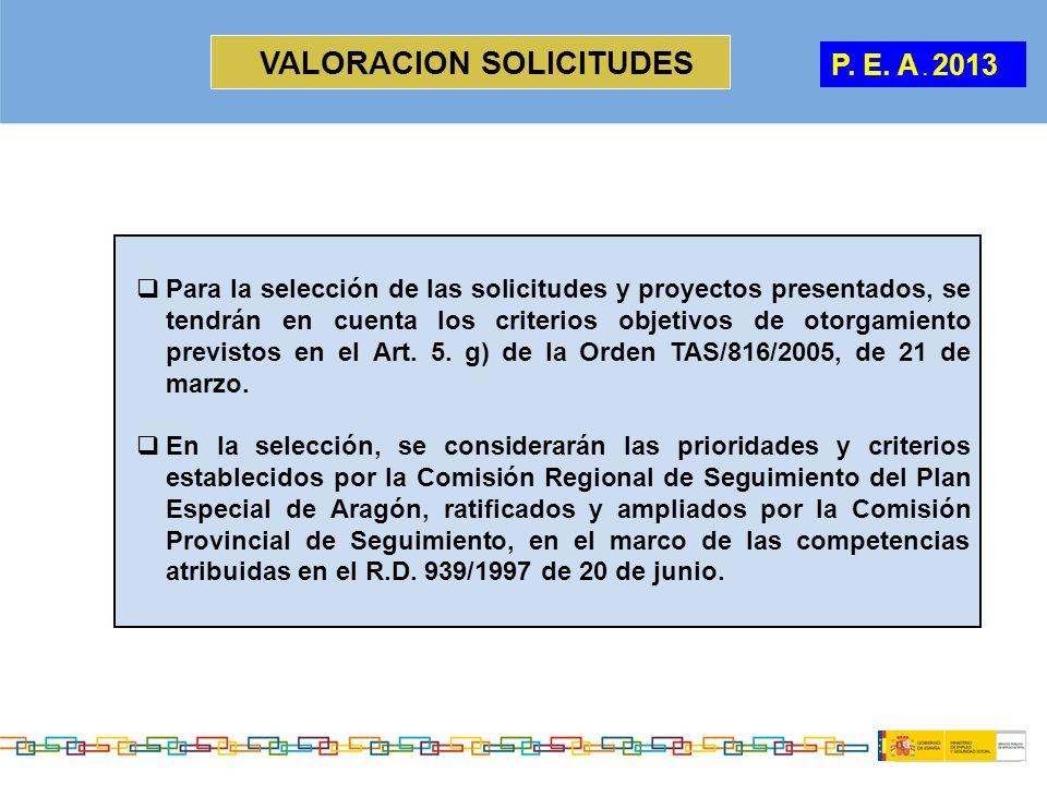 VALORACION SOLICITUDES P. E. A. 2013 Para la selección de las solicitudes y proyectos presentados, se tendrán en cuenta los criterios objetivos de oto