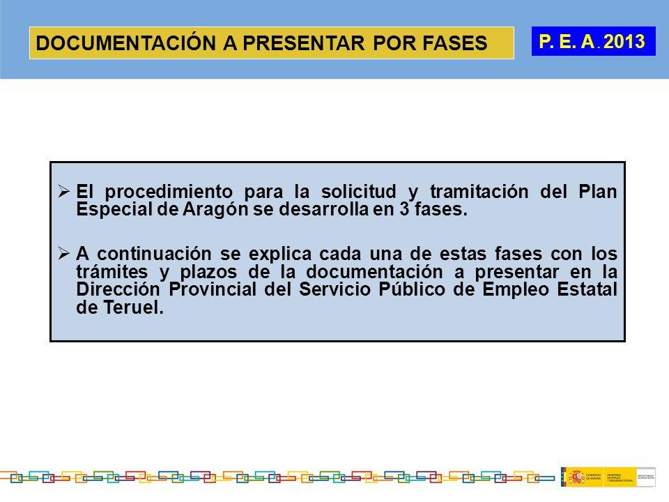 DOCUMENTACIÓN A PRESENTAR POR FASES El procedimiento para la solicitud y tramitación del Plan Especial de Aragón se desarrolla en 3 fases. A continuac