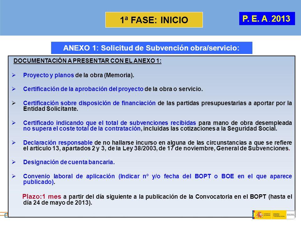 1ª FASE: INICIO DOCUMENTACIÓN A PRESENTAR CON EL ANEXO 1: Proyecto y planos de la obra (Memoria). Certificación de la aprobación del proyecto de la ob