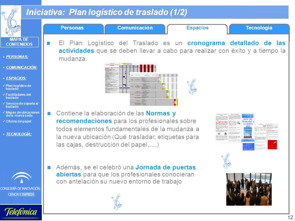 12 Iniciativa: Plan logístico de traslado (1/2) El Plan Logístico del Traslado es un cronograma detallado de las actividades que se deben llevar a cab