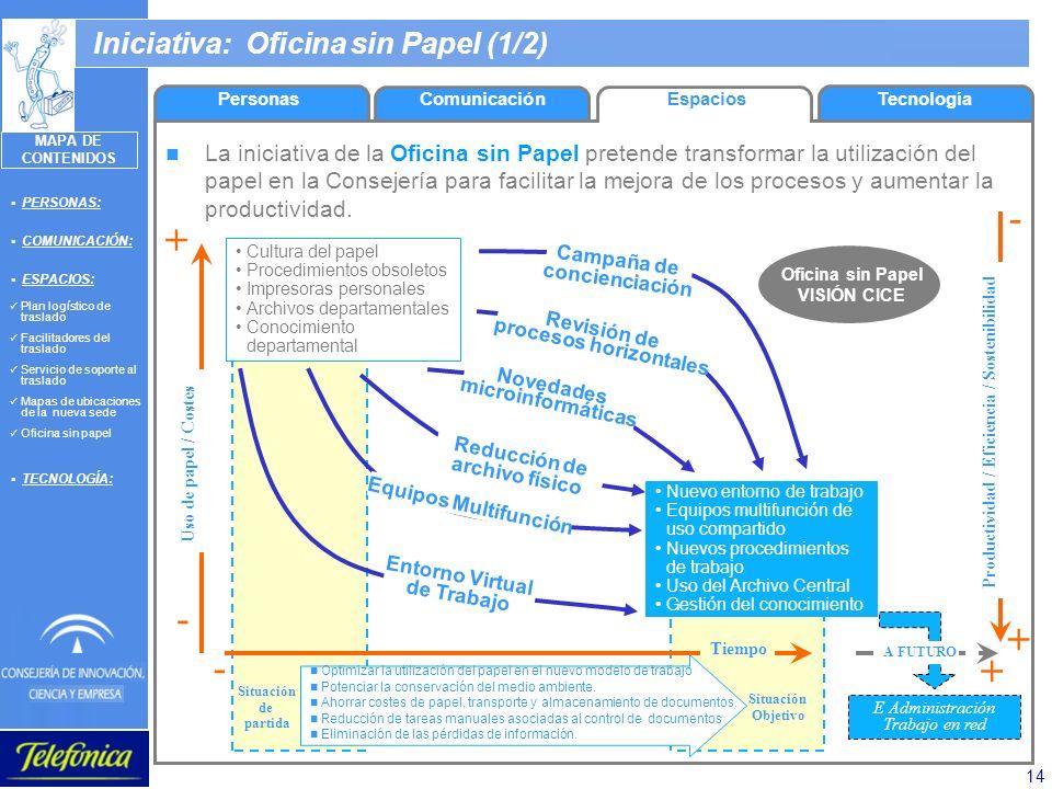 14 PersonasComunicaciónEspaciosTecnología La iniciativa de la Oficina sin Papel pretende transformar la utilización del papel en la Consejería para fa