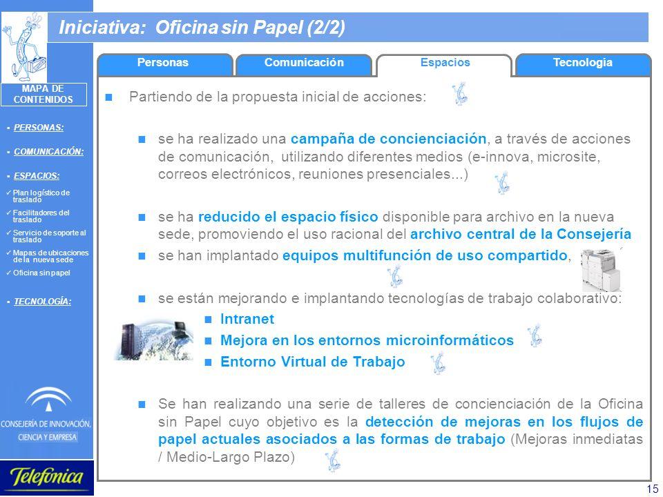 15 Iniciativa: Oficina sin Papel (2/2) Partiendo de la propuesta inicial de acciones: se ha realizado una campaña de concienciación, a través de accio