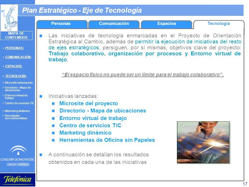 17 Plan Estratégico - Eje de Tecnología EspaciosTecnología Las iniciativas de tecnología enmarcadas en el Proyecto de Orientación Estratégica al Cambi