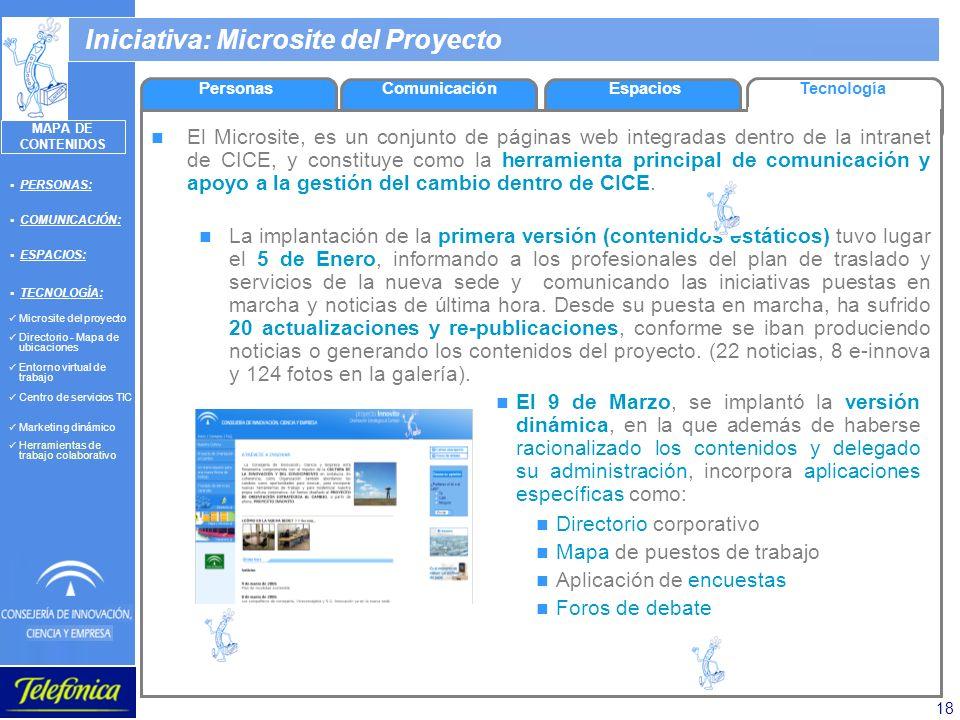 18 Iniciativa: Microsite del Proyecto El Microsite, es un conjunto de páginas web integradas dentro de la intranet de CICE, y constituye como la herra