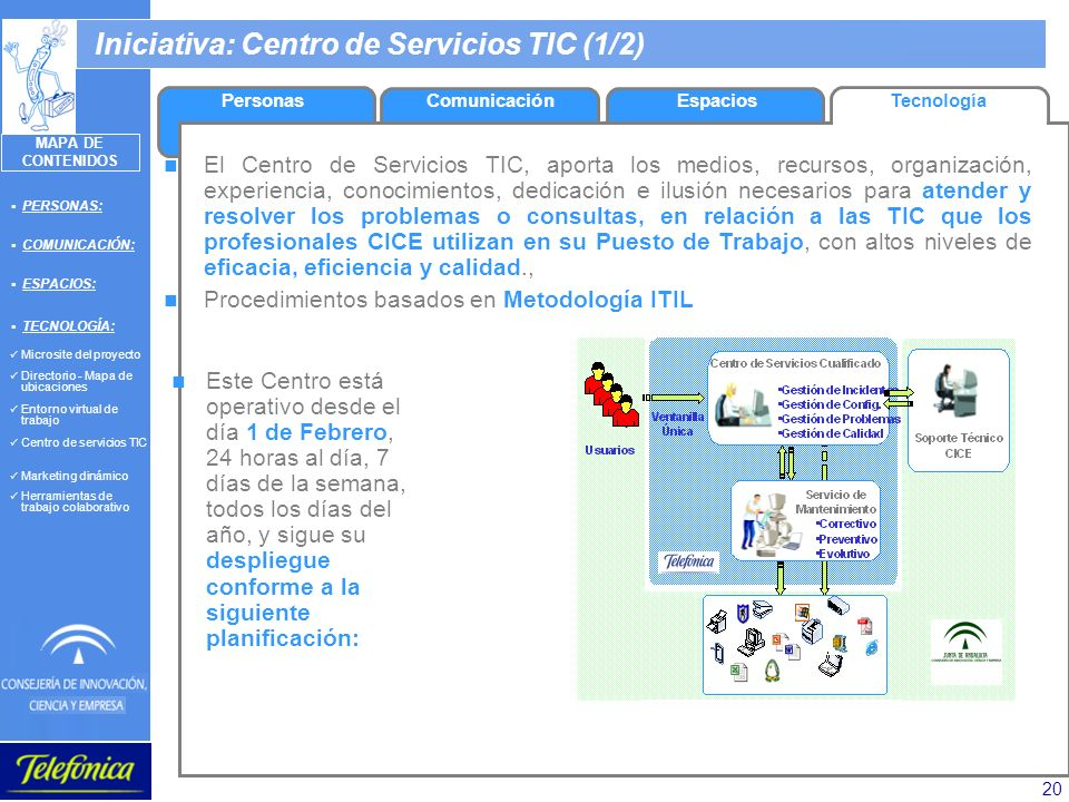 20 Iniciativa: Centro de Servicios TIC (1/2) EspaciosTecnologíaPersonasComunicación PERSONAS: COMUNICACIÓN: ESPACIOS: TECNOLOGÍA: Microsite del proyec