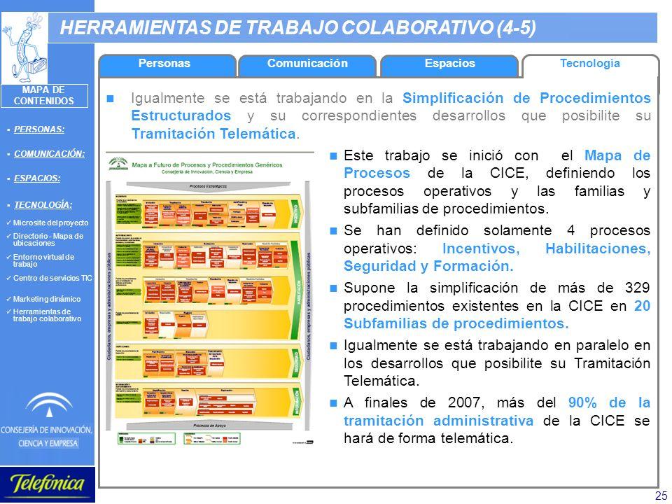 25 HERRAMIENTAS DE TRABAJO COLABORATIVO (4-5) Igualmente se está trabajando en la Simplificación de Procedimientos Estructurados y su correspondientes
