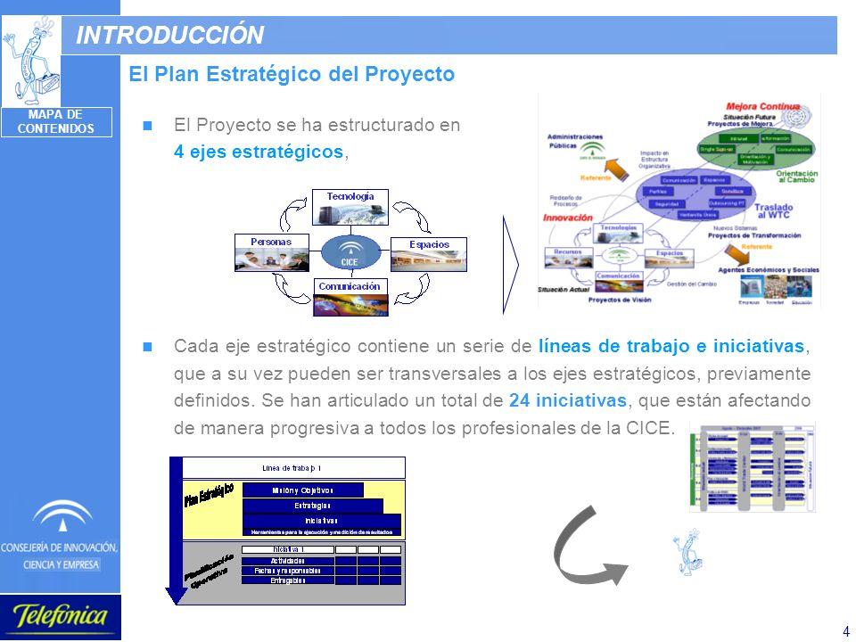 4 INTRODUCCIÓN El Plan Estratégico del Proyecto El Proyecto se ha estructurado en 4 ejes estratégicos, Cada eje estratégico contiene un serie de línea