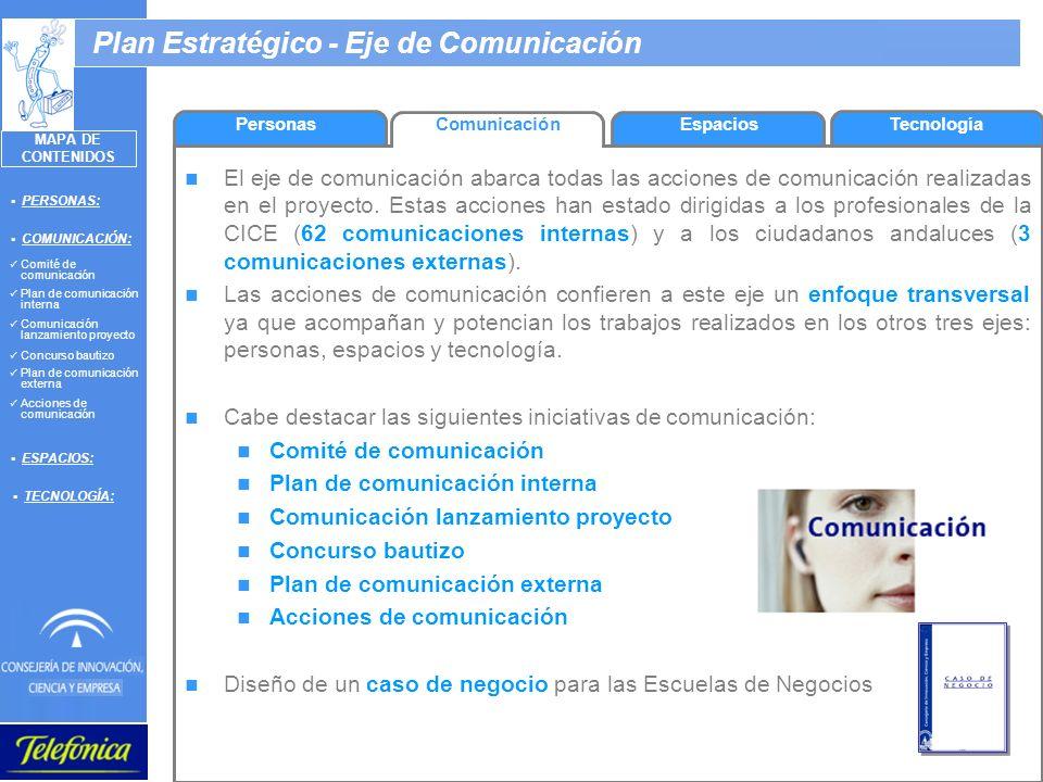 9 Plan Estratégico - Eje de Comunicación PersonasComunicación El eje de comunicación abarca todas las acciones de comunicación realizadas en el proyec