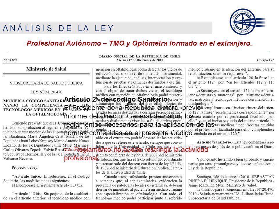 A N Á L I S I S D E L A L E Y Profesional Autónomo – TMO y Optómetra formado en el extranjero. Artículo 2° del código Sanitario: El Presidente de la R