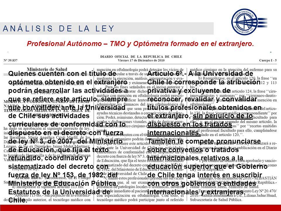 A N Á L I S I S D E L A L E Y Profesional Autónomo – TMO y Optómetra formado en el extranjero.