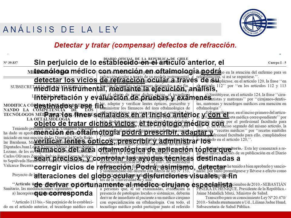 A N Á L I S I S D E L A L E Y Detectar y tratar (compensar) defectos de refracción. Sin perjuicio de lo establecido en el artículo anterior, el tecnól