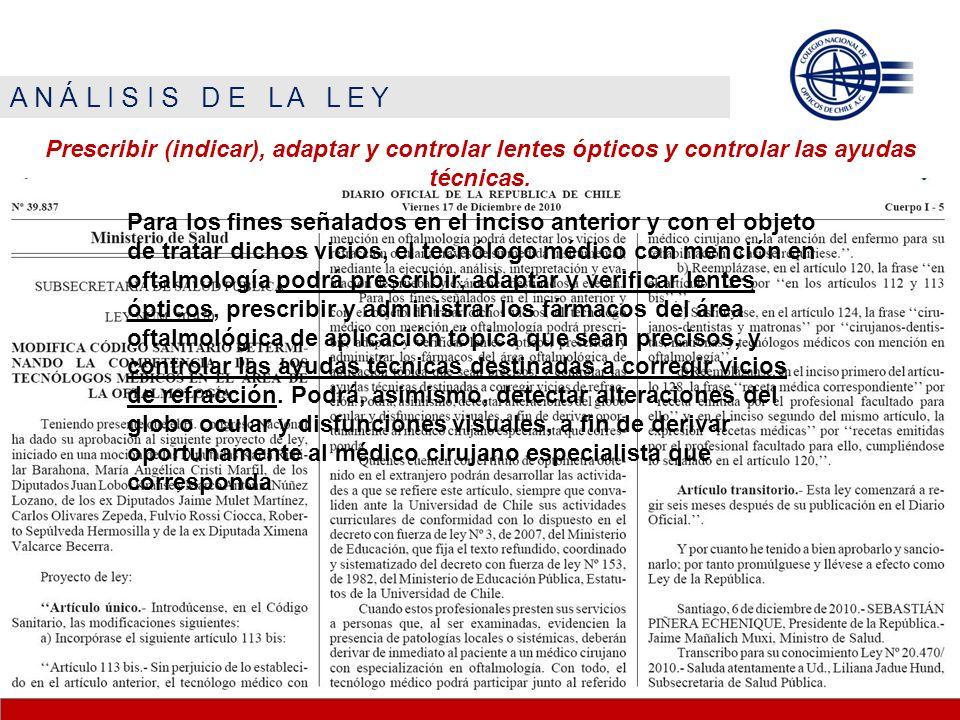 A N Á L I S I S D E L A L E Y Prescribir (indicar), adaptar y controlar lentes ópticos y controlar las ayudas técnicas. Para los fines señalados en el