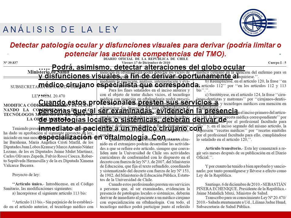A N Á L I S I S D E L A L E Y Detectar patología ocular y disfunciones visuales para derivar (podría limitar o potenciar las actuales competencias del