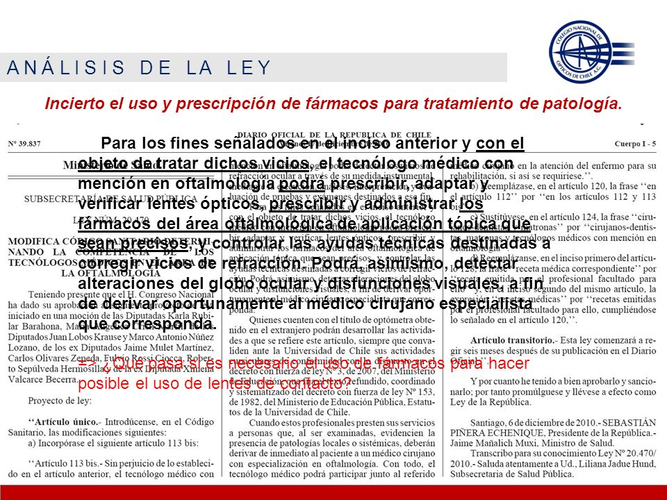A N Á L I S I S D E L A L E Y Incierto el uso y prescripción de fármacos para tratamiento de patología.